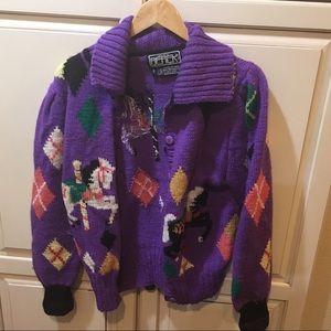 Vintage 80s hand knit wool cardigan sweater berek